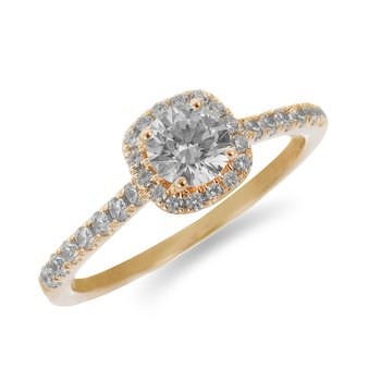 14K YG Diamond Engagement Ring with Cushion Shape Halo and Round Center in Prong Setting