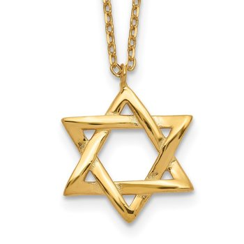 Sterling Silver Gold-tone Star of David w/ 1in ext. Necklace