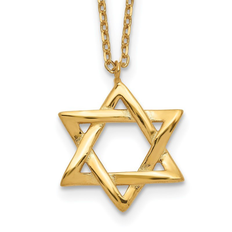 Quality Gold Sterling Silver Gold-tone Star of David w/ 1in ext. Necklace