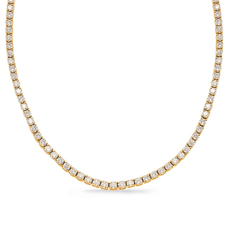S. Kashi  & Sons Yellow Gold Four Prong Tennis Necklace