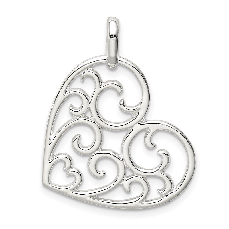 Quality Gold Sterling Silver Filigree Heart Pendant