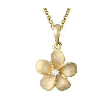 Yellow Gold Plumeria Pendant
