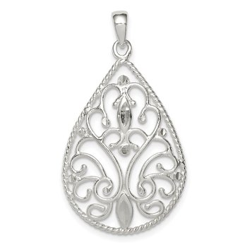 Sterling Silver Polished Filigree Diamond-cut Teardrop Pendant