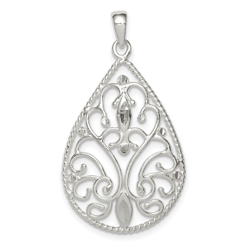 Quality Gold Sterling Silver Polished Diamond-cut Pendant