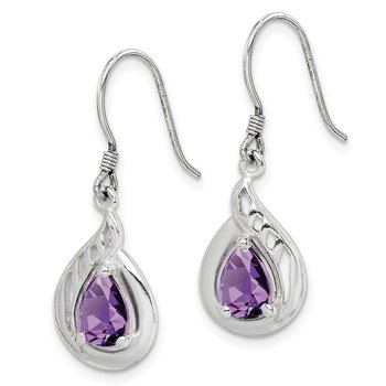 Sterling Silver Amethyst Polished Fancy Dangle Earrings