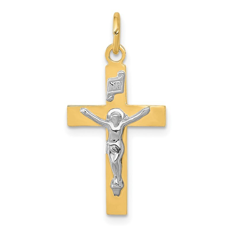 Quality Gold 14k Two-tone INRI Crucifix Pendant