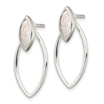 Sterling Silver Earring Jacket w/ Mother of Pearl Inlay Post Earrings