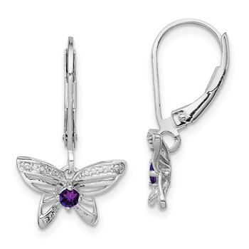 Sterling Silver Rhodium-plated Amethyst & Diamond Butterfly Earrings