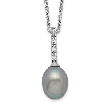 Sterling Silver Rhod-plat 7-8mm Grey FWC Pearl CZ Necklace
