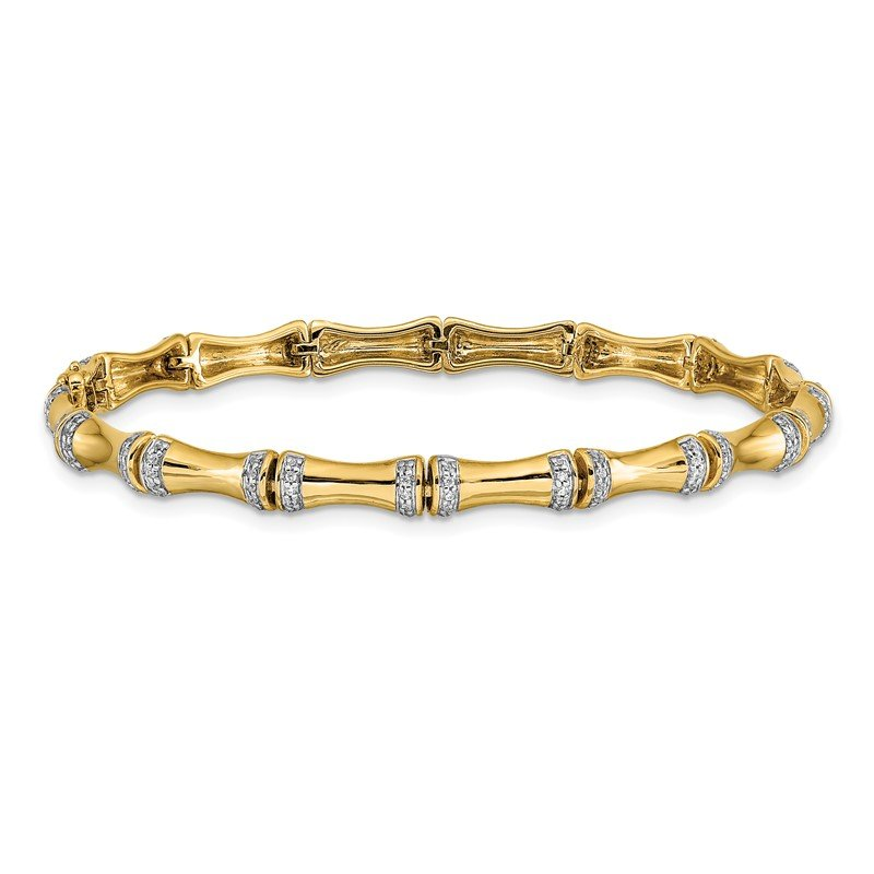 Quality Gold 14k White Gold Diamond Bamboo Design Bracelet