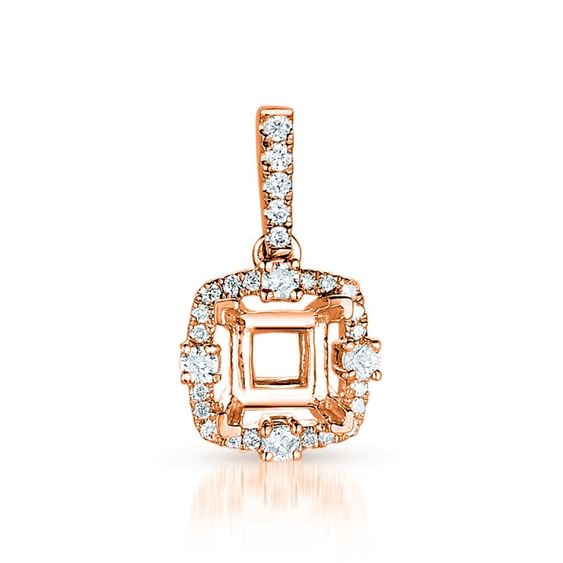S. Kashi  & Sons Diamond Pendant For 1ct princess center