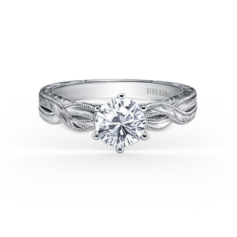 Kirk Kara 18K White Gold Engraved Twist Engagement Ring