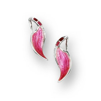 Pink Wave Stud Earrings.Sterling Silver-White Sapphires
