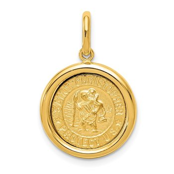14K Polished And Satin St Christopher Medal Pendant