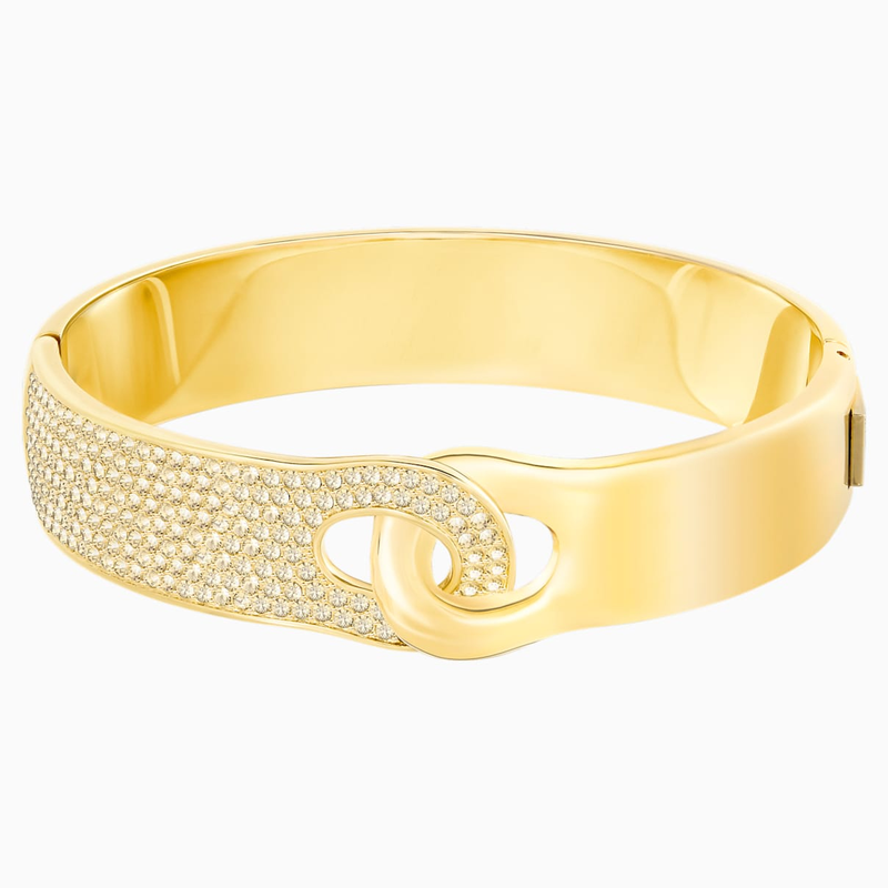 Swarovski Gallon Wide Bangle, Golden, Gold-tone plated