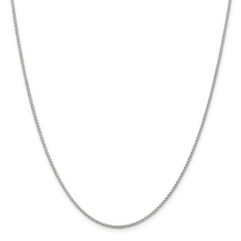 Sterling Silver Rhodium-plated 1.5mm Round Spiga Chain