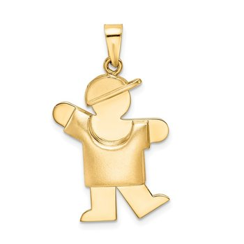 14k Puffed Boy with Hat on Left Engravable Charm