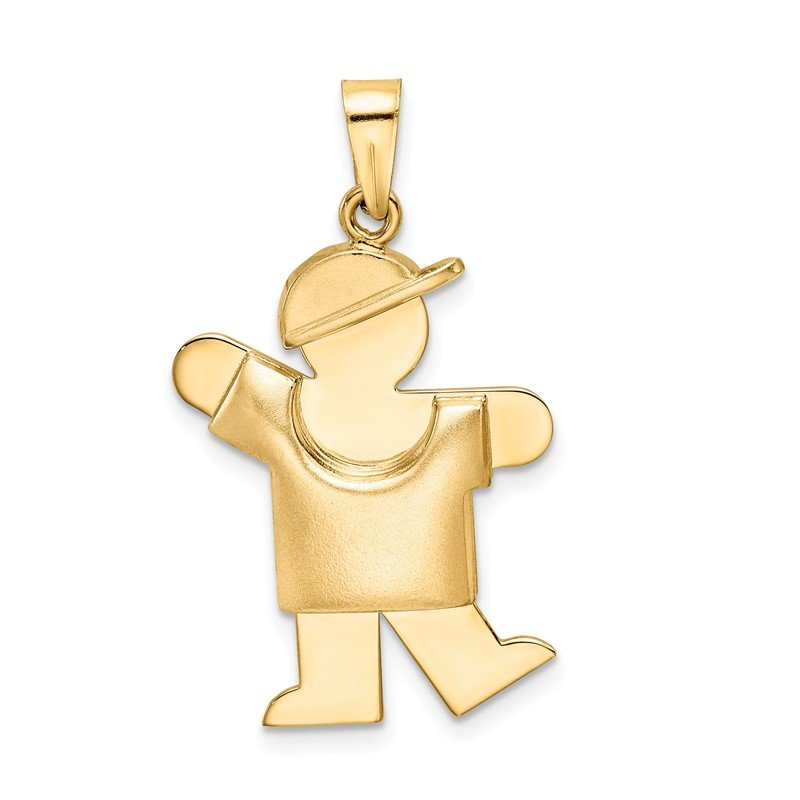 Quality Gold 14k Puffed Boy with Hat on Left Engravable Charm