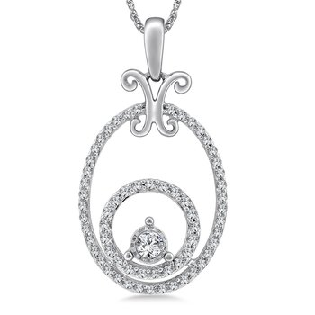 Oval Diamond Pendant in 14K White Gold (.33 ct. tw.)