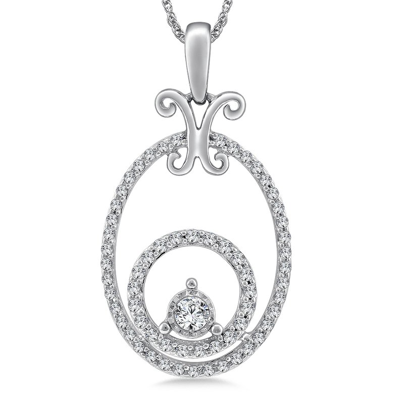 SDC Creations Oval Diamond Pendant in 14K White Gold (.33 ct. tw.)