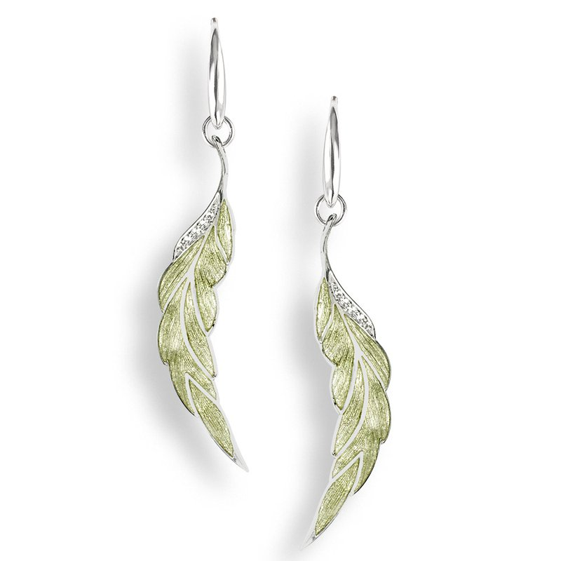 Nicole Barr Designs Green Leaf Wire Earrings.Sterling Silver-White Sapphires