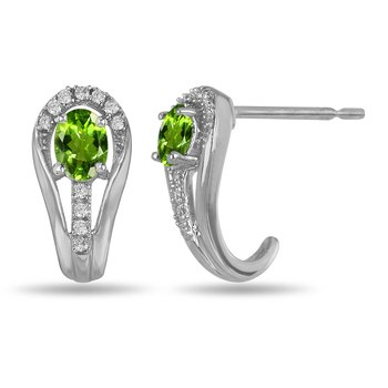 10K WG and diamond and Peridot halo style birthstone earring