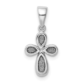 Sterling Silver Rhodium-plated Enamel & Glitter Fabric Cross Pendant