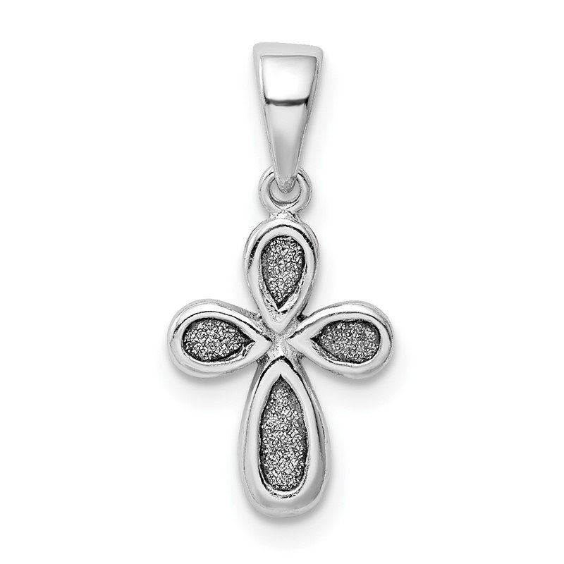 Quality Gold Sterling Silver Rhodium-plated Enamel & Glitter Fabric Cross Pendant