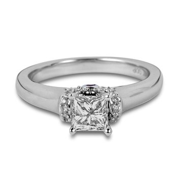 14K WG Diamond and Ruby Engagement Ring