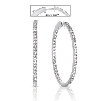 1.5 Securehinge Hoop Earring White Gold