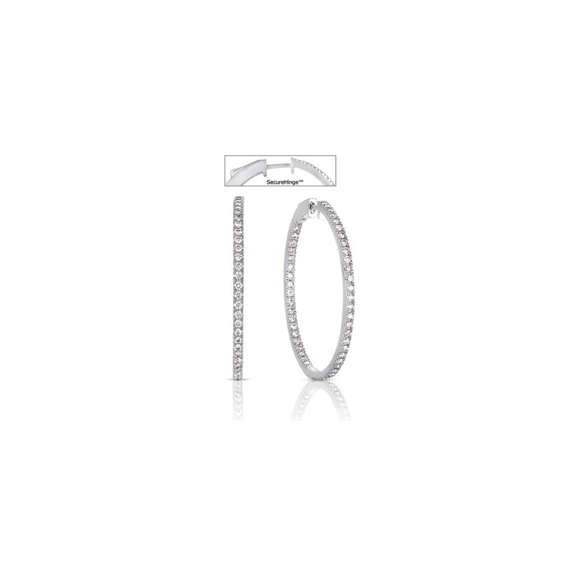 S. Kashi  & Sons 1.5 Securehinge Hoop Earring White Gold