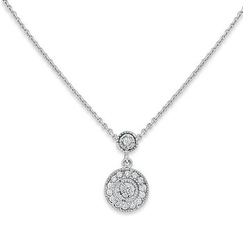 Diamond Antique Style Necklace in 14k White Gold with 19 Diamonds weighing .21ct tw.