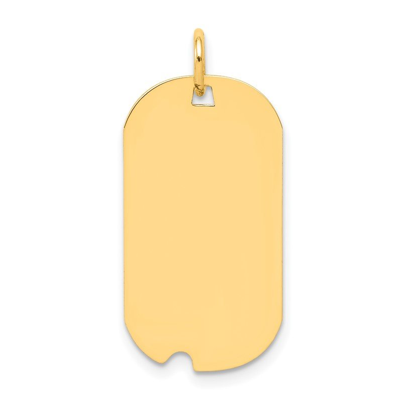 Quality Gold 14k Plain .011 Gauge Engravable Dog Tag w/Notch Disc Charm