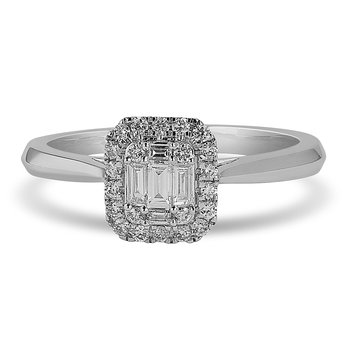 14K WG and diamond emerald solitaire look Halo Engagement ring in invisible and prong setting. 1/3 Cts