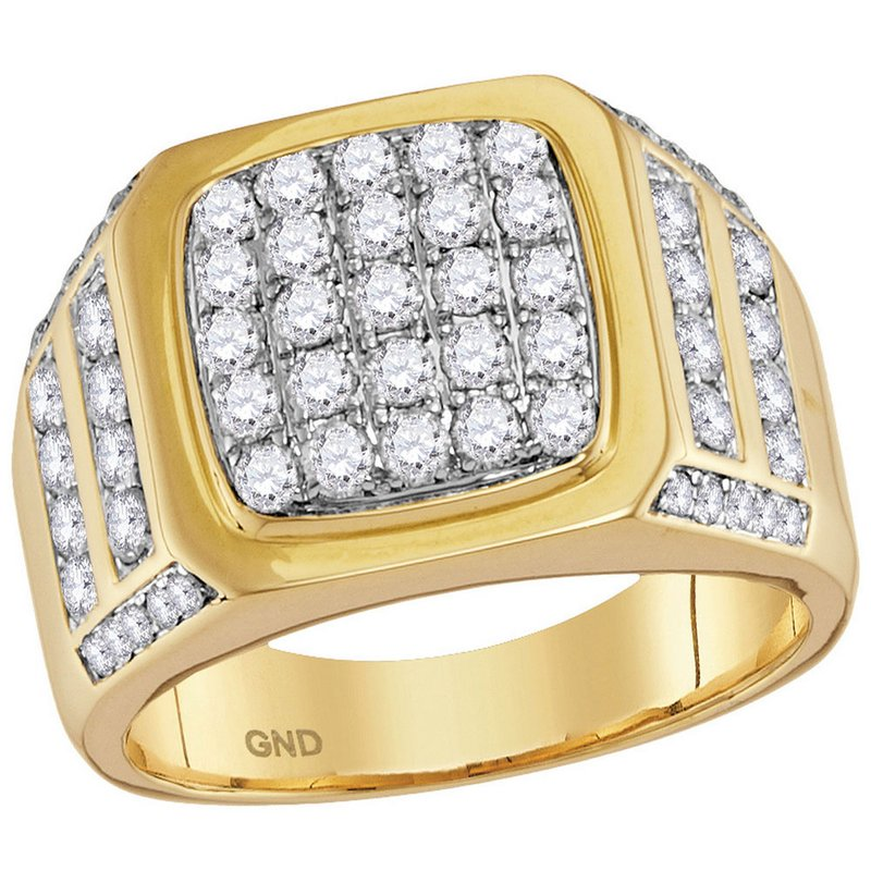 Kingdom Treasures 14kt Yellow Gold Mens Round Diamond Square Cluster Ring 2.00 Cttw