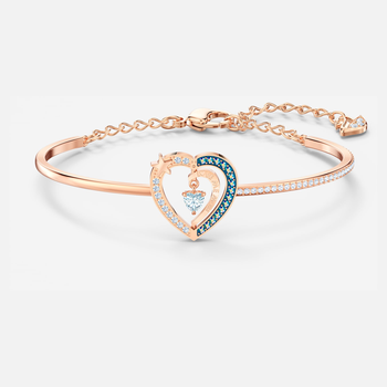 Starry Night Heart Bangle, Blue, Rose-gold tone plated