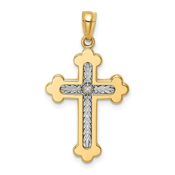 14K Two-tone Polished Budded Diamond Cross Pendant