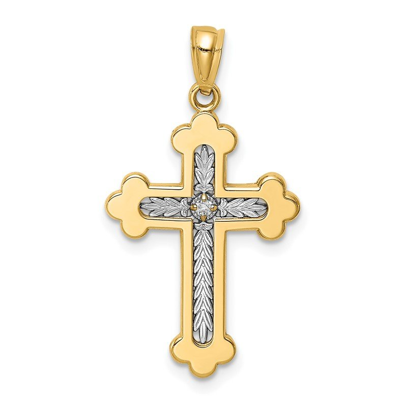 Quality Gold 14K Two-tone Polished Budded Diamond Cross Pendant