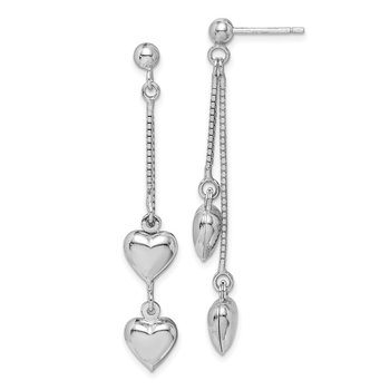 Sterling Silver Rhodium-plated Polished Heart Post Dangle Earrings