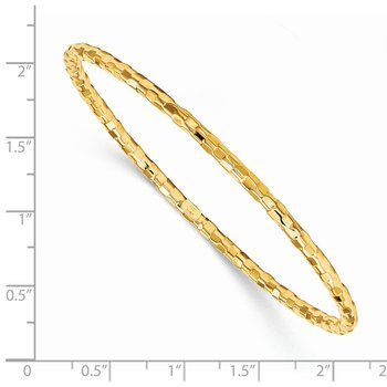 14k Polished Textured Slip-on Bangle Bracelet