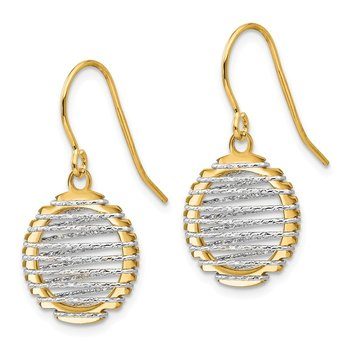 Leslie's 14K Two-tone Wire Wrapped Dangle Shepherd Hook Earrings