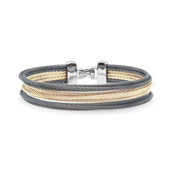 Carnation & Steel Grey Cable Triple Stack Bracelet