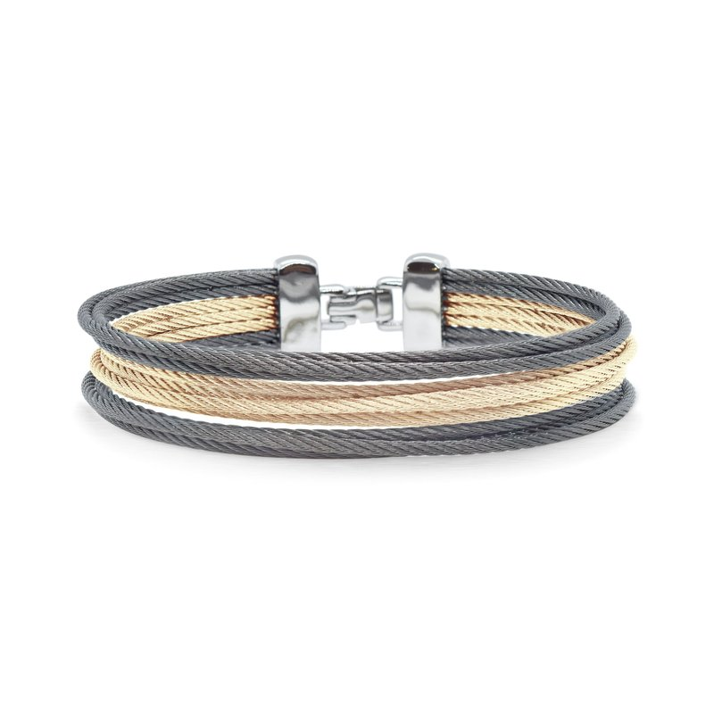 ALOR Catalog Carnation & Steel Grey Cable Triple Stack Bracelet