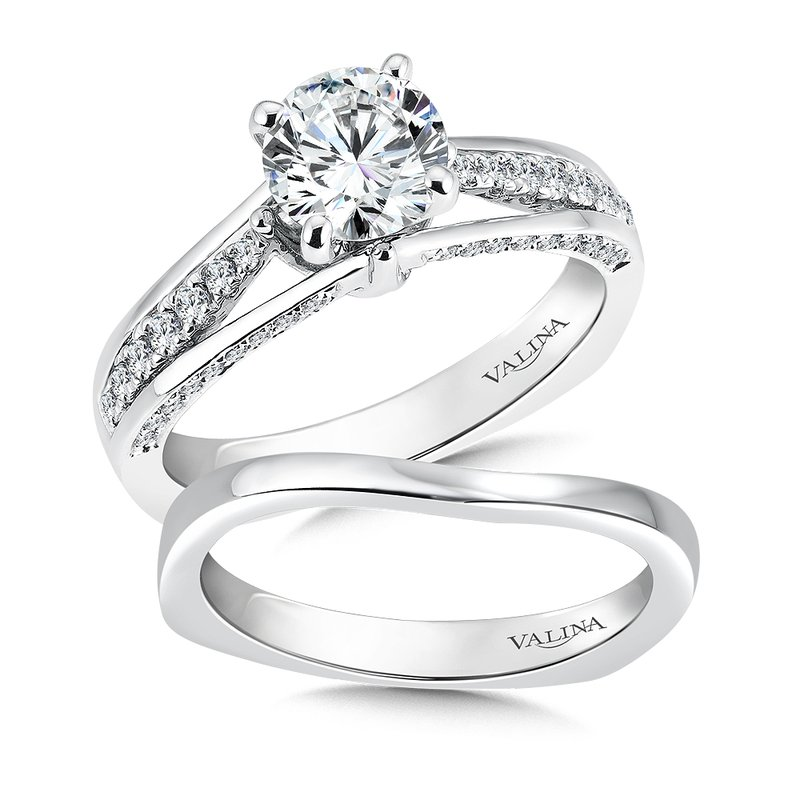 Valina Bridals Mounting with side stones .34 ct. tw., 1 ct. round center.