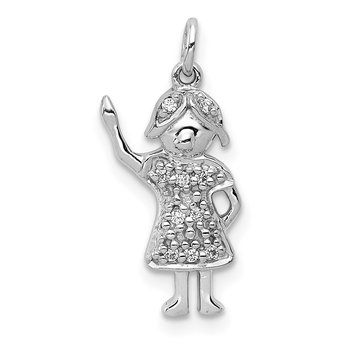 14k White Gold Diamond Girl Charm
