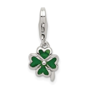 Sterling Silver Green Enameled Four Leaf Clover w/Lobster Clasp Charm