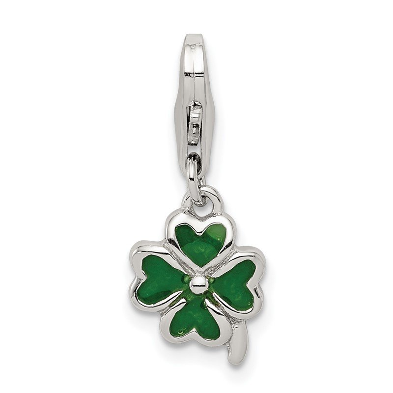 Quality Gold Sterling Silver Green Enameled Four Leaf Clover w/Lobster Clasp Charm