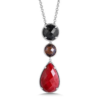 Sterling Silver Black Spinel, Smoky Quartz, Ruby Corundum Pendant