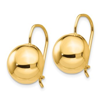 14k 12.00mm Hollow Half Ball Earrings