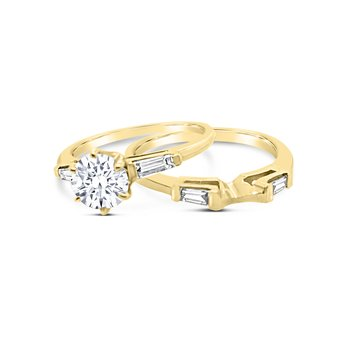Yellow Gold Diamond Three Stone Engagement Ring Band Set
